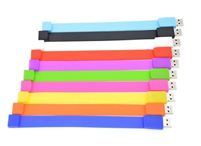 pack of thumb drive bracelets multicolored
