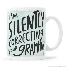funny grammar coffee mug for writers