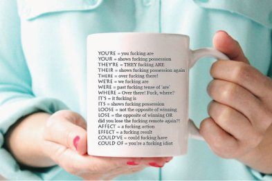 hilarious grammar mug for writers and readers