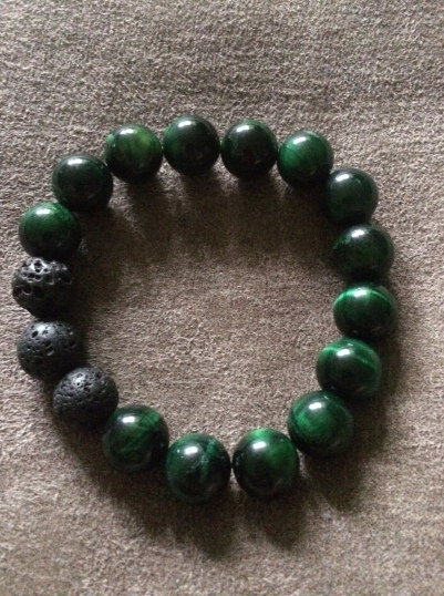 Men's Green Tiger's Eye and Lava Stone Bracelet