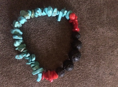 Turquoise, Red Coral, and Lava Stone Bracelet