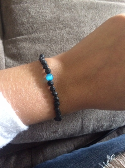 Lava Stone and Blue Bead Bracelet