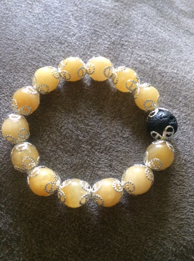 Yellow Jade and Lava Stone Bracelet